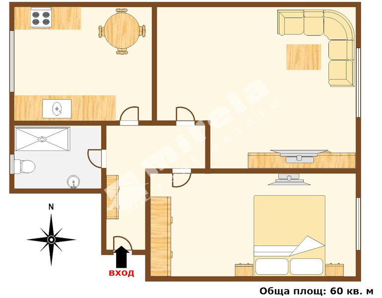 For Rent 1 Bedroom City Of Varna Downtown 60 Sq M